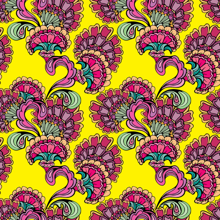 retro pattern: Abstract decorative seamless pattern with hand drawn floral elements
