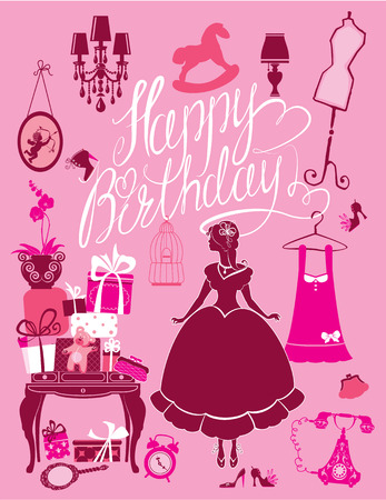 princess dress: Princess Room with glamour accessories, furniture, cage, gift boxes, pictures. Princess girl - silhouette on pink background. Handwritten calligraphic text Happy Birthday. Holiday card for girls. Illustration