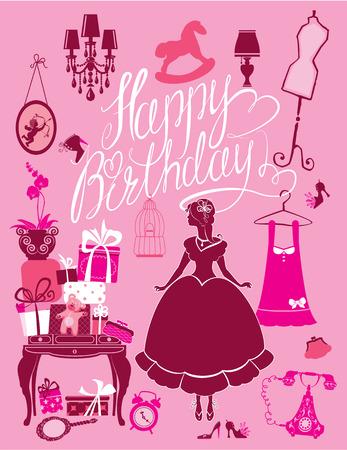 princesa: Sala de la Princesa con accesorios glamour, muebles, jaulas, cajas de regalo, fotos. Muchacha de la princesa - silueta sobre fondo de color rosa. Texto caligráfico manuscrita Feliz cumpleaños. Tarjeta de vacaciones para las niñas.