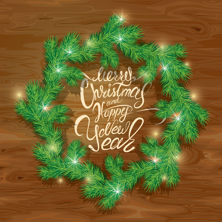 wooden circle: Old Wooden background with painted holiday typography, Frame of Christmas fir tree branches  in circle shape. Merry Christmas and Happy New Year calligraphy.