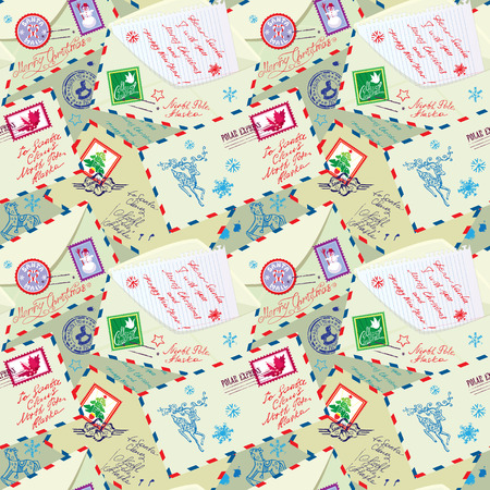 retro christmas: Seamless pattern with xmas stamps, envelops, labels, cards, hand written texts, Christmas and New Year postage background for winter holidays design.
