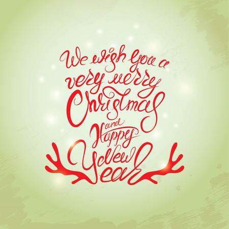 winter holidays: Merry Christmas and Happy New Year Card, calligraphy handwritten text for winter holidays design.