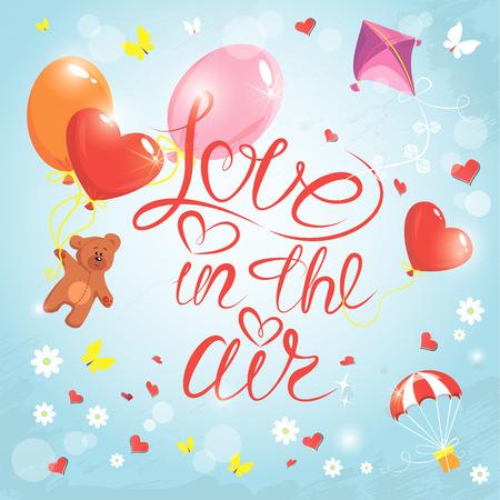 papalote: Tarjeta de vacaciones con corazones, mariposas, flores, globos, cometas, paracaídas y osito de peluche en el fondo del cielo azul con nubes. Escrito a mano Amor de texto caligráfico en el aire, diseño del día de San Valentín.