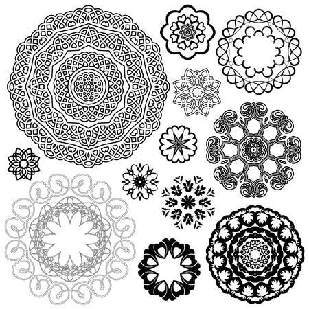 decorative frames: Set of Vintage backgrounds, Guilloche ornamental circle Elements for Certificate, Money, Diploma, Voucher, decorative round frames. Illustration