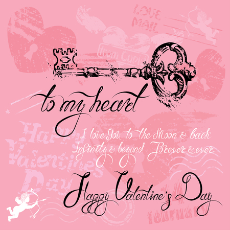 oude sleutel: Vintage card with old key in grunge style and calligraphic text, on pink background. Happy Valentines Day design.