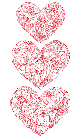 hand made: Set of Hearts shape is made of hand drawn beautiful flowers, isolated on white background. Element for Valentines Day holiday card.