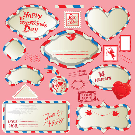 envelops: Borders in post mail style with handwritten calligraphic text Happy Valentines Day, design elements for holidays. Collection of stamps, envelops, labels, Frames. Made with love.