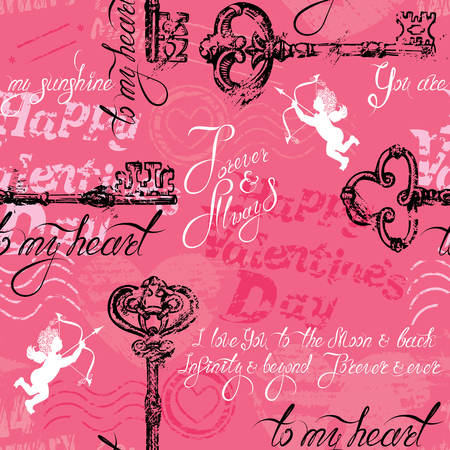 Seamless pattern with old key in grunge style and calligraphic text, on pink background. Happy Valentines Day design, Vintage background. Vectores
