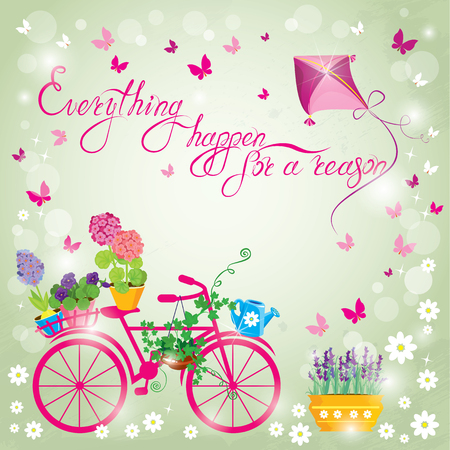reason: Image with flowers in pots and bicycle on sky blue background. Design for Birthday Invitation card. Calligraphic text Everything happens for a reason.