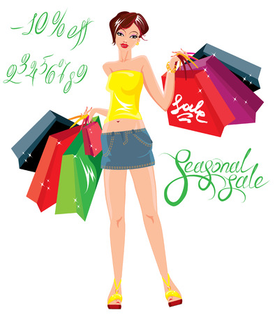 22,417 Shopping Girl Cliparts, Stock Vector And Royalty Free ...