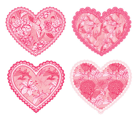Set of 4 Pink fine lace hearts with floral pattern. Design elements for wedding or Valentines Day card Illustration