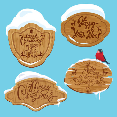 shield: Set of Wooden frames with snow and handwritten calligraphic text Merry Christmas and Happy New Year, design elements for winter holidays.