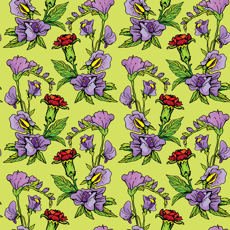 sweet pea: Seamless pattern with Realistic graphic flowers - clove and sweet pea - hand drawn background. Illustration