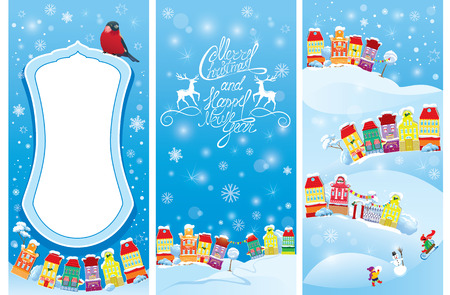 time of the year: Set of vertical banners with small fairy town on light blue sky background with decorative colorful houses in winter time. Images for Christmas and New Year design