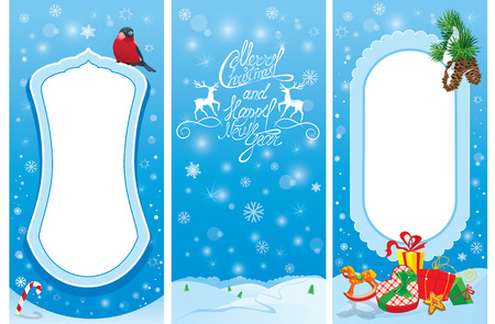 tarjetas a�o nuevo: Set of vertical banners - Christmas and New Year cards with bullfinch bird, frame, fir tree branches and presents. Vectores