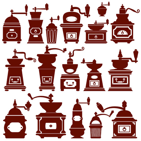 mills: Set with different shapes vintage coffee mills silhouettes. Elements for cafe or restaurant menu design. Illustration