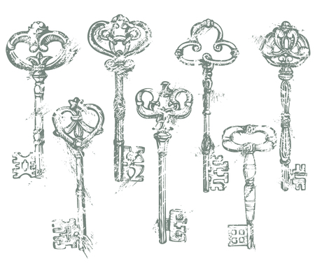 antiquarian: Set of Antique Vintage Keys in grunge style. Isolated on white background