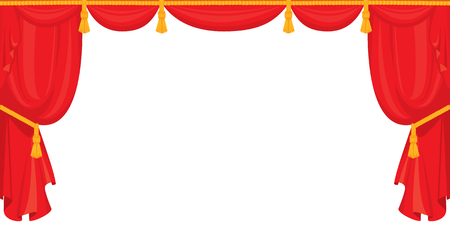 curtains: Theater red velvet curtain for stage in retro style, isolated on white background.