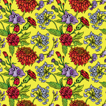 clove: Seamless pattern with Realistic graphic flowers - clove and sweet pea - hand drawn background. Illustration