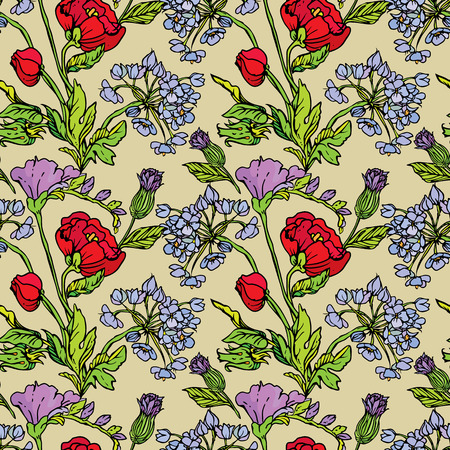 in peas: Seamless pattern with Realistic graphic flowers - poppy and sweet pea - hand drawn background.