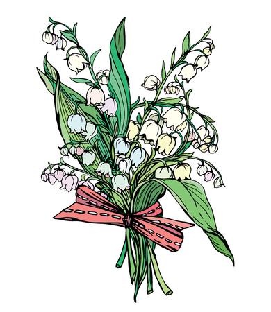 릴리 밸리의 - 봄 꽃의 빈티지 새겨진 그림, 흰색 baskground에 고립