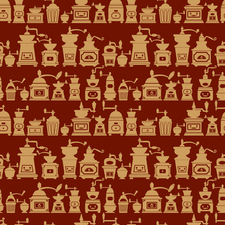 mills: Seamless pattern with different shapes vintage coffee mills silhouettes. Background design for cafe or restaurant menu.