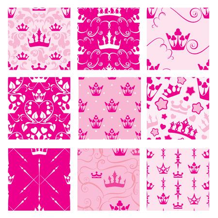 princesa: Conjunto de fondos de color rosa con coronas princesa. Patrones telón sin fisuras para el diseño de las niñas.