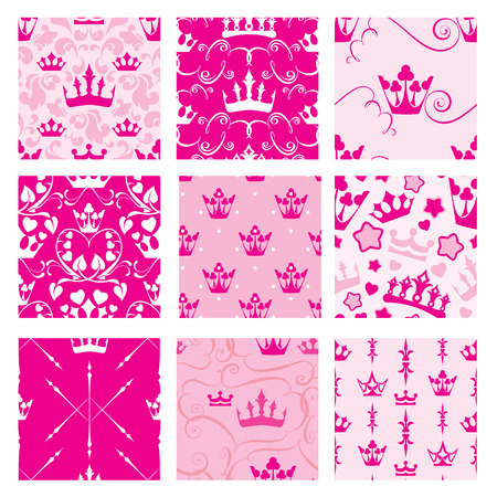 crown: Set of Pink backgrounds with Princess crowns. Seamless backdrop patterns for girls design.