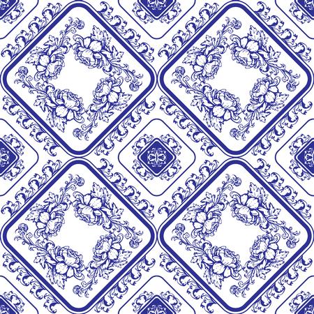 flores chinas: estampado de flores azul transparente. Antecedentes en el estilo de la pintura china en porcelana o el estilo de Gzhel ruso. Vectores
