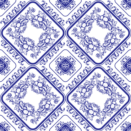 blue and white: Seamless blue floral pattern. Background in the style of Chinese painting on porcelain or Russian gzhel style.
