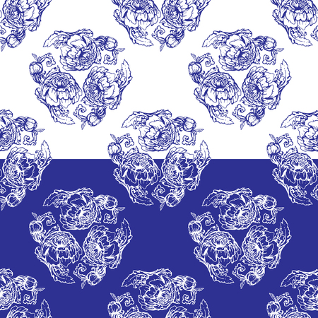 painting style: Seamless blue floral pattern. Background in the style of Chinese painting on porcelain or Russian gzhel style.