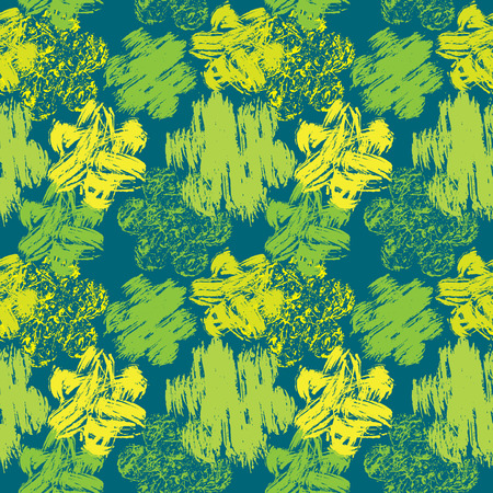 colorful grunge: Seamless abstract pattern with grunge colorful flowers on green background. Illustration