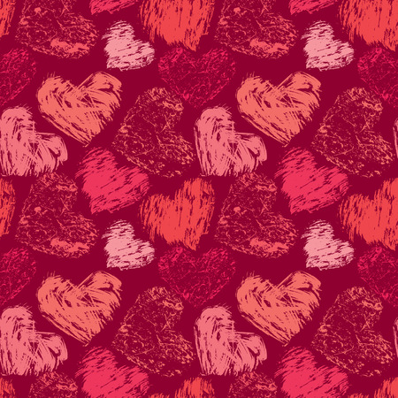 Seamless abstract pattern with grunge colorful hearts on red background.
