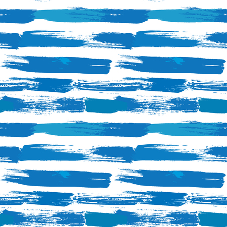 abstract seamless: Seamless stripes pattern with lines and ink splashes in blue colors. Abstract background for design in grunge style.