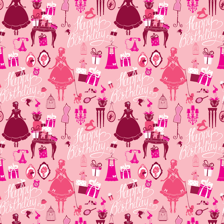 room for text: Holiday Seamless pattern for girls. Princess Room - glamour accessories, gift boxes, pictures. Princess - silhouettes on pink background. Handwritten calligraphic text Happy Birthday.