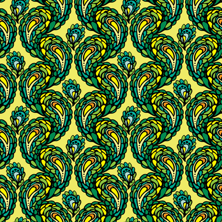 peafowl: Seamless pattern - peacock feathers, abstract background Illustration