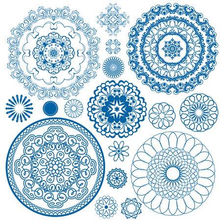 porcelain: Set of blue floral circle patterns. Background in the style of Chinese painting on porcelain. Ornamental design elements.