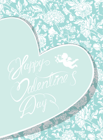 florish: Elegant card with decorative florish pattern. Happy Valentines day calligraphic text. Design also for wedding, mothers day,birthday cards, invitations, greetings. Vintage decorative flowers.