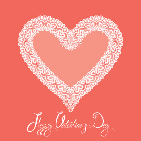 white heart: White Heart shape is made of lace doily on pink background, Holiday Card with calligraphic text Happy Valentines Day.