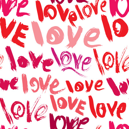 scribbles: Seamless pattern with brush strokes and scribbles, words LOVE - Valentines Day Background in grunge style.