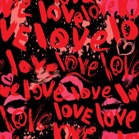 dessin coeur: seamless coups de pinceau et gribouillis en forme de c?ur, des gravures de baiser et mots AMOUR - Fond Saint Valentin dans le style grunge.