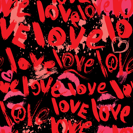 grunge heart: Seamless pattern with brush strokes and scribbles in heart shapes, kiss prints and words LOVE - Valentines Day Background in grunge style.