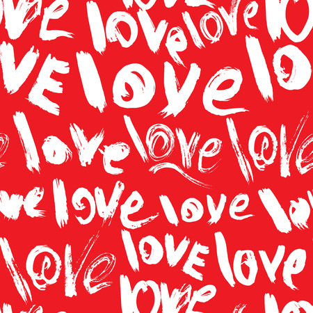 Seamless pattern with brush strokes and scribbles, words LOVE - Valentines Day Background in grunge style.