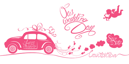 white wedding: Funny pink wedding card with retro car dragging cans, angel and calligraphic texts - Our wedding day, Save the Date, Invitation. Illustration