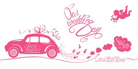 Tarjeta divertida de la boda rosa con latas coche retro arrastrando, ángel y textos caligráficos - Nuestro día de la boda, ahorra la fecha, la invitación. Ilustración de vector