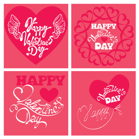 amore: Set of 4 Holiday cards - heart and calligraphic text Happy Valentine`s Day  on pink background.