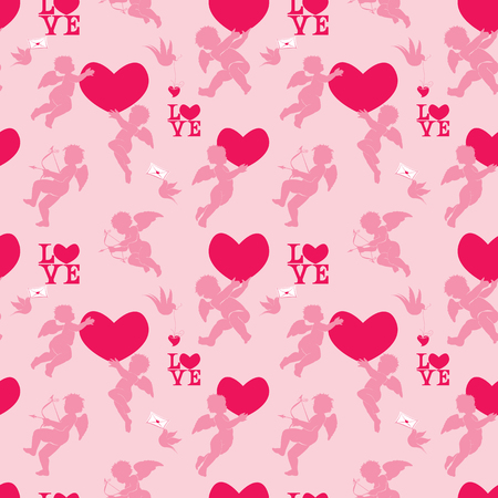 Seamless pattern with silhouettes of angel, heart, bird and calligraphic text LOVE. Valentine`s Day pink background, Love concept.