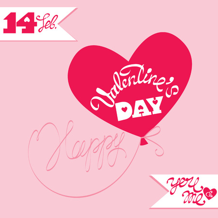 amore: Holiday card, ballon in heart shape and calligraphic text Happy Valentine`s Day  on pink background. Illustration