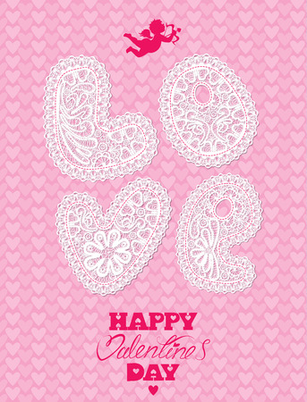 love letters: Vintage card, lace letters LOVE on pink background with hearts. Handwritten calligraphic text Happy Valentines Day and angel. Illustration