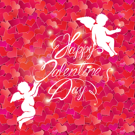 valentine cherub: Holiday card with cute angels on hearts red background.  calligraphic text Happy Valentines Day.